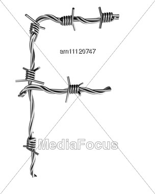Letter F Made From Barbed Wire Stock Photo