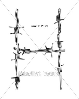 Letter H Made From Barbed Wire Stock Photo