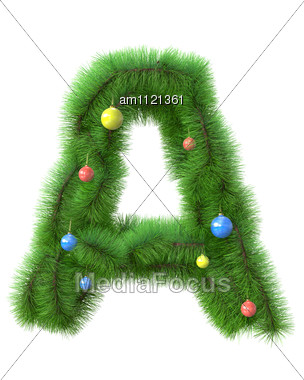 Letter Made Of Christmas Tree Branches Stock Photo