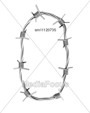 Letter Made From Barbed Wire Stock Photo