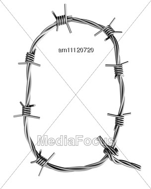 Letter Q Made From Barbed Wire Stock Photo