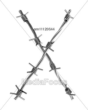 Letter X Made From Barbed Wire Stock Photo