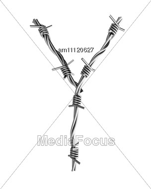 Letter Y Made From Barbed Wire Stock Photo
