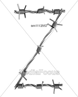 Letter Z Made From Barbed Wire Stock Photo