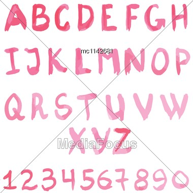 Letters, Uppercase, Lowercase, Numbers, Digits, Symbols Set Stock Photo