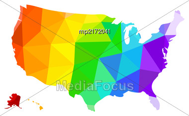 LGBT Flag In The Form Of A Map Of The United States Of America. Vector Illustration Stock Photo