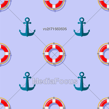 Lifebuoy And Anchor Icons Nautical Pattern On Blue. Lifequard Symmetric Background Stock Photo