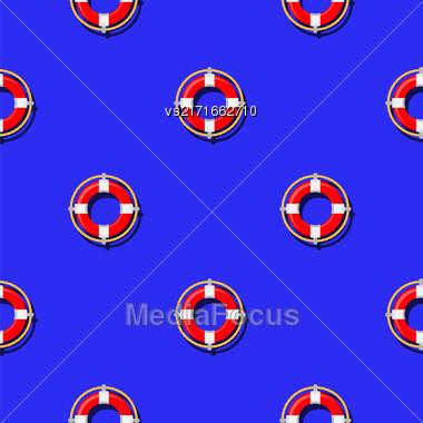 Lifebuoy Icon Nautical Pattern On Blue. Lifequard Symmetric Background Stock Photo