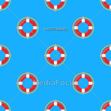 Lifebuoy Icon Nautical Pattern On Blue. Lifequard Symmetric Background Stock Photo