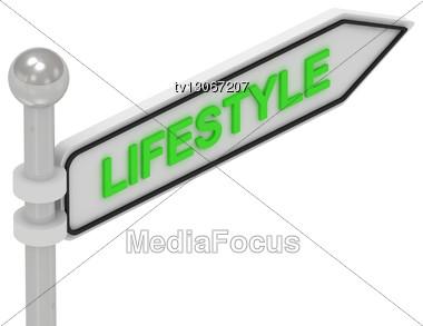 LIFESTYLE Word On Arrow Pointer Stock Photo