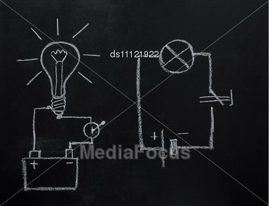 Light Bulb Drawn On Blackboard Stock Photo