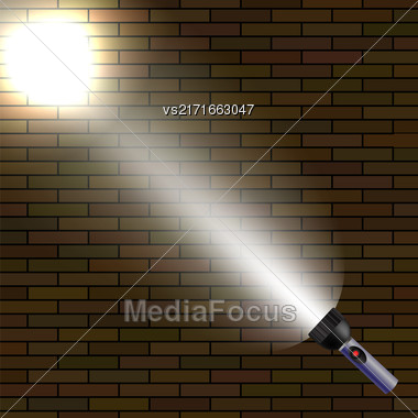 Light Flash On Dark Brick Background. White Beam Of Light Stock Photo
