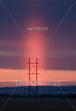 Light Pillar Saskatchewan Prairie Sunset Canada Scenic Stock Photo