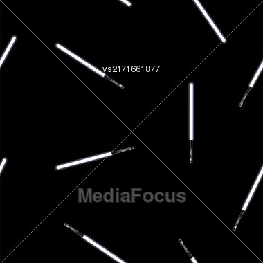 Light Sword Seamless Pattern Isolated On Black Background Stock Photo