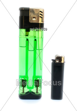 Lighters Isolated On Whte Background. Stock Photo