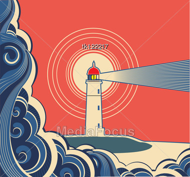 Lighthouse With Blue Sea Symbol Poster Stock Photo