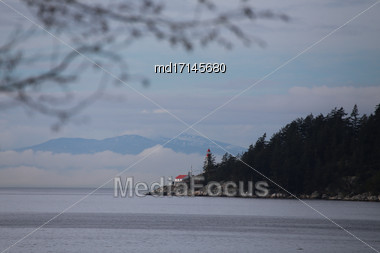 Lighthouse In Vancouver Burrard Inlet Looking West Stock Photo