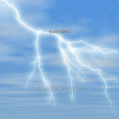 Lightning Against The Blue Sky Is Covered By White Fluffy Clouds Stock Photo