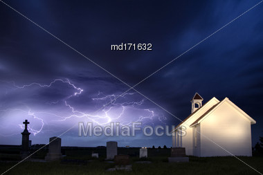 Lightning Storm And The Country Church In Saskatchewan Canada Stock Photo