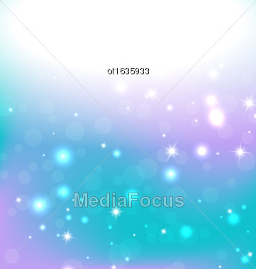 Lights On Blue Background - Vector Illustration, Graphic Design Useful For Your Design. Bright Blue Abstract Christmas Background With White Snowflakes. Bokeh Effect Stock Photo