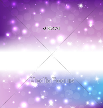 Lights On Blue Background - Vector Illustration, Graphic Design Useful For Your Design. Bright Blue Abstract Christmas Background With White Snowflakes Stock Photo