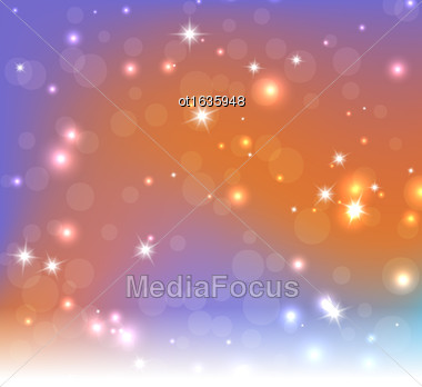 Lights On Blue Orange Background - Vector Illustration, Graphic Design Useful For Your Design. Bright Blue Orange Abstract Christmas Background With White Snowflakes Stock Photo