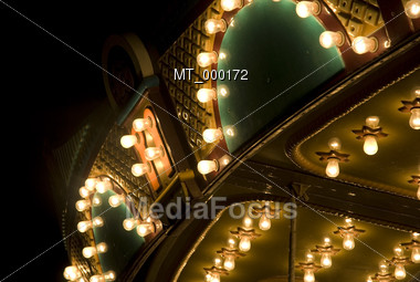 Ligths on an Amusement Park Ride Stock Photo