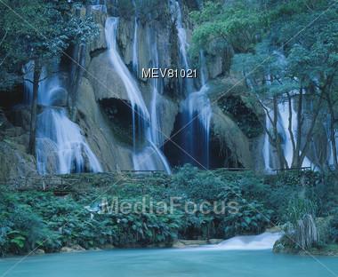 Limestone Waterfall, Laos Stock Photo