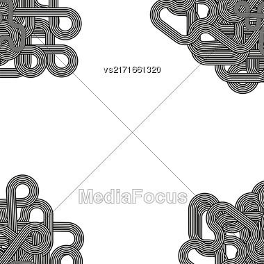 Line Retro Ornamental Pattern On White Background Stock Photo