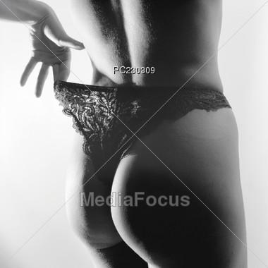 Lingerie - Black Thong Stock Photo