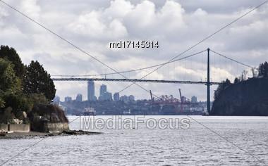 Lions Gate Bridge Vancouver British Columbia Canada Stock Photo