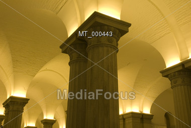Lit Stone Columns Stock Photo