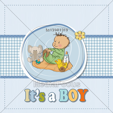 Little Baby Boy Play With His Toys.baby Shower Card In Vector Format Stock Photo