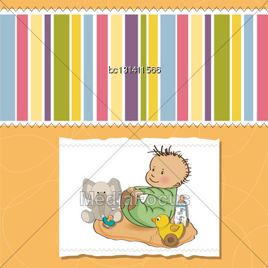 Little Baby Boy Play With His Toys. Shower Card In Vector Format Stock Photo