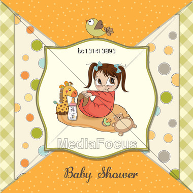 Little Baby Girl Play With Her Toys. Baby Shower Card Stock Photo