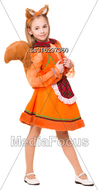 Little Blond Girl Dressed Like A Squirrel. Isolated On White Stock Photo