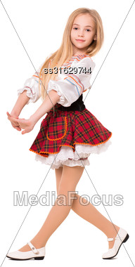 Little Blond Girl Wearing Short Dress And Dancing. Isolated On White Stock Photo