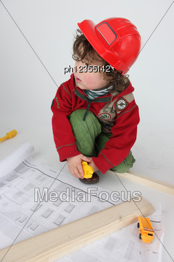 Little Boy Architect Stock Photo