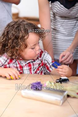 Little Boy Celebrating His Birthday Stock Photo