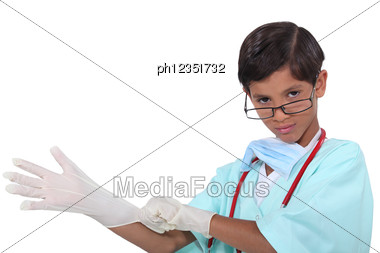 Little Boy Dressed As Surgeon Stock Photo