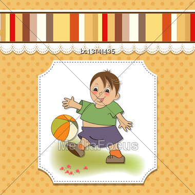 Little Boy Playing Ball, Vector Illustration Stock Photo