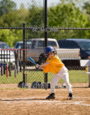 Little Boy Playing Baseball Stock Photo