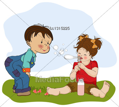 Little Boy Playing With A Little Girl, Illustration In Vector Format Stock Photo