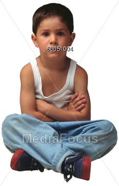 Stock Photo Little Boy Sitting Crossed Arms Clipart ...