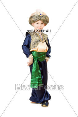 Little Boy Wearing Oriental Costume. Stock Photo