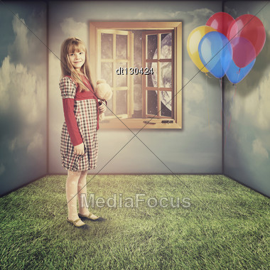 Little Dreams. Funny Retro Female Portrait Stock Photo