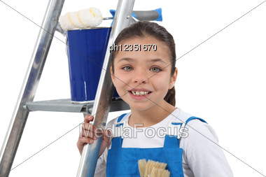 Little Girl Dressed As Decorator Stock Photo