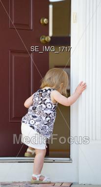 Stock Photo Little Girl Entering House Image Se Img 1717