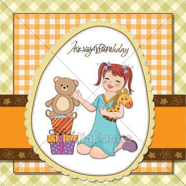 Little Girl Playing With Her Birthday Gifts . Happy Birthday Card Stock Photo
