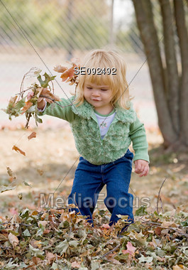 Little Girl Playing in the Leaves Stock Photo